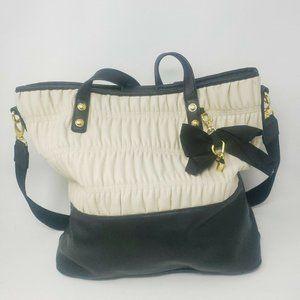 Jessica Simpson Beige Black SOFT Faux Leather Tote